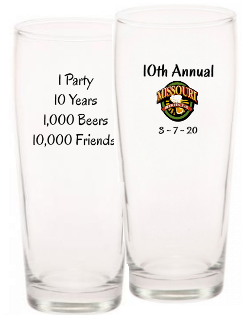 Missouri Beer Festival MBF 2020 VIP Glass 10th Annual 10000 Friends Glass